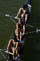REDWOOD SHORES, CA - MARCH 31:  The Stanford Cardinal varsity team during Stanford's regatta against the Santa Clara Broncos on March 31, 2001 in Redwood Shores, California.