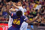 VELUX EHF 2017/18 EHF Men's Champions League Last 16.<br /> FC Barcelona Lassa vs Montpellier HB: 30-28.<br /> Dika Mem vs Baptiste Bonnefond.