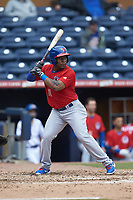 Gift Ngoepe (11) of the Buffalo Bison at bat against the Durham Bulls at Durham Bulls Athletic Park on April 25, 2018 in Allentown, Pennsylvania.  The Bison defeated the Bulls 5-2.  (Brian Westerholt/Four Seam Images)