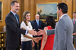 King Felipe VI of Spain and Queen Letizia of Spain receive in audience to permanent commission of the federation of religious entities of Spain at Zarzuela Palace in Madrid, July 27, 2017. Spain.<br /> (ALTERPHOTOS/BorjaB.Hojas)