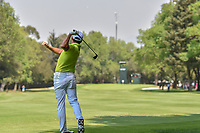 Rickie Fowler (USA) loses the grip on his club as puts his approach shot on the 4th green during round 1 of the World Golf Championships, Mexico, Club De Golf Chapultepec, Mexico City, Mexico. 3/1/2018.<br /> Picture: Golffile | Ken Murray<br /> <br /> <br /> All photo usage must carry mandatory copyright credit (&copy; Golffile | Ken Murray)