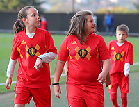 20191008 CLUJ NAPOCA: Romanian player escorts with Belgian shirts are pictured before the match between Belgium Women's National Team and Romania Women's National Team as part of EURO 2021 Qualifiers on 8th of October 2019 at CFR Stadium, Cluj Napoca, Romania. PHOTO SPORTPIX | SEVIL OKTEM
