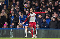 Matt Phillips of WBA & David Zappacosta of Chelsea during the Premier League match between Chelsea and West Bromwich Albion at Stamford Bridge, London, England on 12 February 2018. Photo by Andy Rowland.