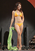 12 July, 2008:    Miss Clark County Rachelle Kays shows off her swim attire in the Physical Fitness in Swimsuit competition on stage during the 2008 Miss Washington pageant at the Pantages Theater in Tacoma , Washington.