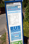 Rural bus timetable, Suffolk, England. This service has now been withdrawn and replaced with 'on request' community bus service. July 2009