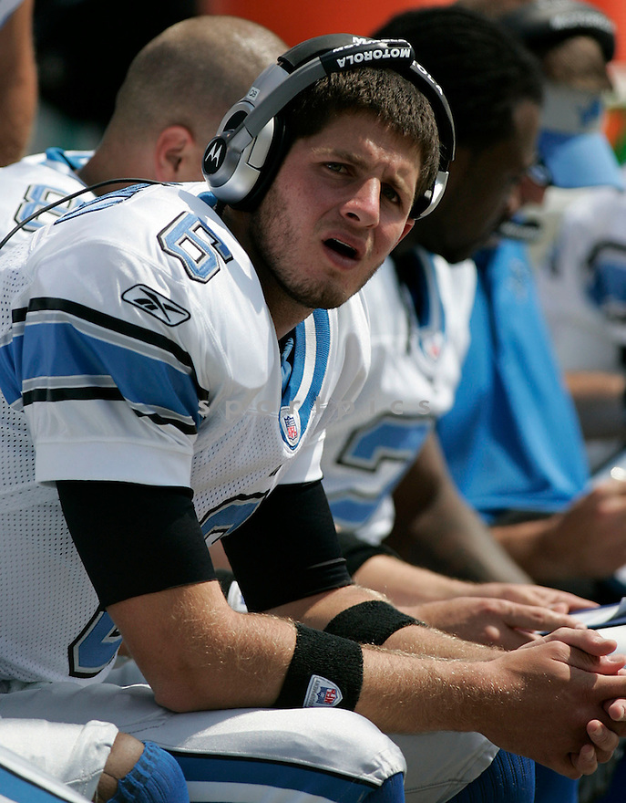 DAN ORLOVSKY, of the  Detroit Lions , during the Lions game against the Oakland Raiders on September 9, 2007.  The Oakland Raiders beat the Detroit Lions 37-10....