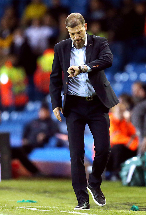 West Bromwich Albion manager Slaven Bilic checks his watch<br /> <br /> Photographer Rich Linley/CameraSport<br /> <br /> The EFL Sky Bet Championship - Tuesday 1st October 2019  - Leeds United v West Bromwich Albion - Elland Road - Leeds<br /> <br /> World Copyright © 2019 CameraSport. All rights reserved. 43 Linden Ave. Countesthorpe. Leicester. England. LE8 5PG - Tel: +44 (0) 116 277 4147 - admin@camerasport.com - www.camerasport.com