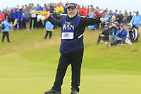 Shane Lowry's (IRL) caddy Bo on the 16th green during Sunday's Final Round of the 148th Open Championship, Royal Portrush Golf Club, Portrush, County Antrim, Northern Ireland. 21/07/2019.<br /> Picture Eoin Clarke / Golffile.ie<br /> <br /> All photo usage must carry mandatory copyright credit (© Golffile | Eoin Clarke)