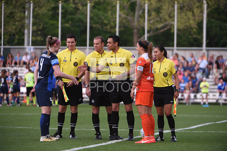 Kansas City, MO - Saturday May 07, 2016: FC Kansas City defender Becky Sauerbrunn (4) and Houston Dash midfielder Amber Brooks (12) during the coin toss prior to a regular season National Woman's Soccer League (NWSL) match at Swope Soccer Village. Houston won 2-1.