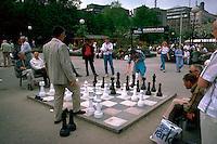 large chess game in public park. Stockholm, Sweden Kungstradgarden.