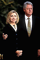 Washington DC., USA, Novermber 5, 1996<br /> President William Clinton and first Lady Hillary Clinton attend the Re-election celebration together in the Rose garden of the White House. Credit: Mark Reinstein/MediaPunch