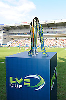 The LV= Cup trophy on display before the match between Leicester Tigers and Northampton Saints at Sixways Stadium, Worcester on Sunday 18 March 2012 (Photo by Rob Munro, Fotosports International)