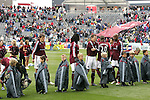 7 April 2007: Colorado players, cheerleaders, and fans brave the freezing temperatures and await the start of the game. The Colorado Rapids defeated DC United 2-1 at Dick's Sporting Goods Park in Denver, Colorado in the opening game of the MLS regular season.