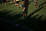 Alloa Athletic 0 Peterhead 1,14/01/2017. Recreation Park, Scottish League One. Home players going through their pre-match warm-up at Recreation Park before Alloa Athletic played Peterhead in a Scottish League One fixture. The club was formed in 1878 as Clackmannan County, changing the name to Alloa Athletic in 1883. The visitors won the match by one goal to nil, watched by a crowd of 504. Photo by Colin McPherson.