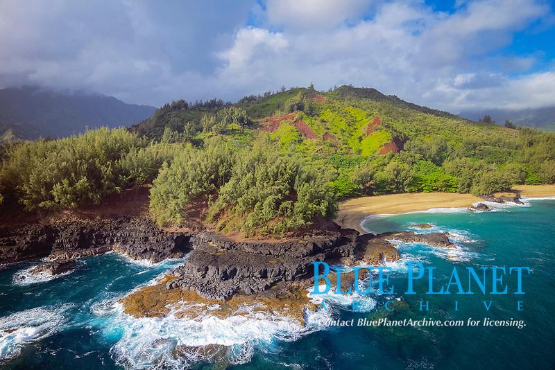 aerial view of the rugged lava shoreline, Lumahai Beach, Kauai, Hawaii, USA, Pacific Ocean