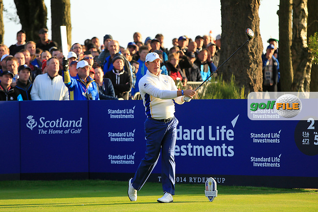 Lee Westwood (EUR) during the Saturday morning Fourballs of the 2014 Ryder Cup at Gleneagles. The 40th Ryder Cup is being played over the PGA Centenary Course at The Gleneagles Hotel, Perthshire from 26th to 28th September 2014.: Picture Eoin Clarke, www.golffile.ie: \27/09/2014\