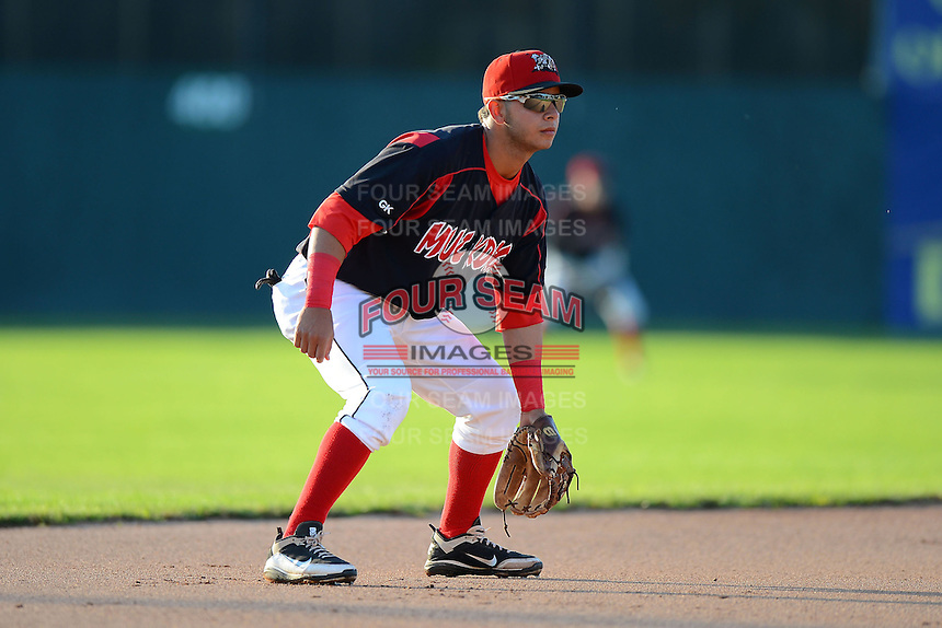 Batavia Muckdogs infielder Luis Ortiz (26) during a game against the State College Spikes on June 29, 2013 at Dwyer Stadium in Batavia, New York.  Batavia defeated State College 5-4.  (Mike Janes/Four Seam Images)