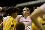 Berlin, Germany, February 01: Elisa Graeve #26 of Duesseldorfer HC celebrates after defeating HTC Uhlenhorst Muehlheim 4-1 to win the Deutsche Meisterschaft on February 1, 2015 at the Final Four tournament at Max-Schmeling-Halle in Berlin, Germany. Final score 4-1 (1-0). (Photo by Dirk Markgraf / www.265-images.com) *** Local caption ***