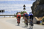 The breakaway group Jan Tratnik (SLO) CCC Sprandi Polkowice, Eugert Zhupa (ALB) Wilier Triestina-Selle Italia and Ivan Rovny (RUS) Gazprom-Rusvelo pass the stunning coastline at Villasimius during Stage 3 of the 100th edition of the Giro d'Italia 2017, running 148km from Tortoli to Cagliari, Sardinia, Italy. 7th May 2017.<br /> Picture: Eoin Clarke | Cyclefile<br /> <br /> <br /> All photos usage must carry mandatory copyright credit (&copy; Cyclefile | Eoin Clarke)