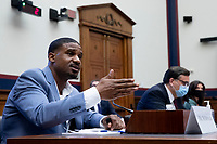 US Navy veteran and Black Lives Matter protester Kishon McDonald (L) testifies beside George Washington University Law School Law Professor Jonathan Turley (C) and Amelia Brace (R) of Australia's Seven News; during the US House Natural Resources Committee hearing on 'The US Park Police Attack on Peaceful Protesters at Lafayette Square', on Capitol Hill in Washington, DC, USA, 29 June 2020. The death of George Floyd while in Minneapolis police custody has sparked protests demanding policing reform and racial equality. Amidst protests authorities cleared Lafayette Square, 01 June 2020, before US President Donald J. Trump walked across the park and visited St. John's Church.<br /> Credit: Michael Reynolds / Pool via CNP / MediaPunch