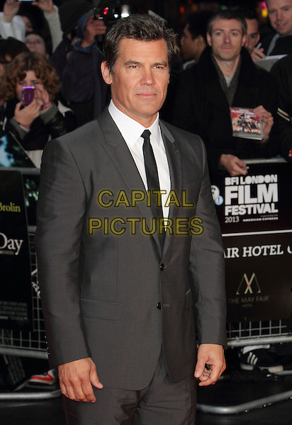 Josh Brolin<br /> BFI London Film Festival - Mayfair Gala Screening of 'Labor Day' at the Odeon Leicester Square, London, England.<br /> October 14th 2013<br /> half length grey gray suit white shirt black tie <br /> CAP/ROS<br /> &copy;Steve Ross/Capital Pictures