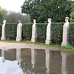 reflection of statues of piazzale dei martiri in rome italy