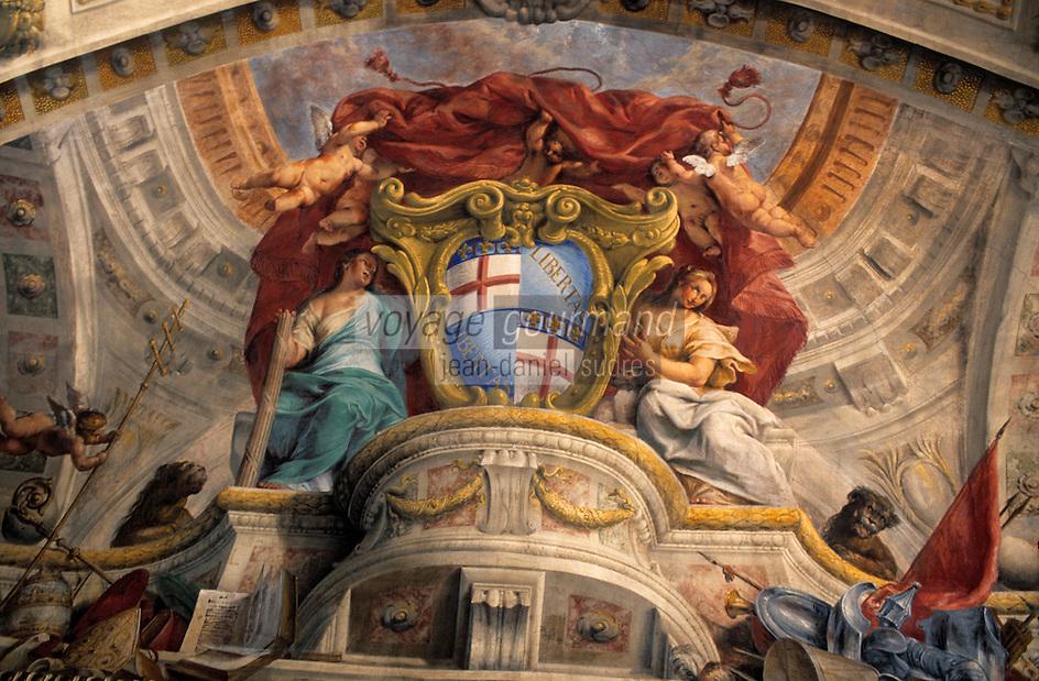 Europe/Italie/Emilie-Romagne/Bologne : Palais communal - Plafond peint de la salle du conseil