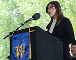 Andrea Senda, incoming ASWN president speaks at the 2015 Western Nevada College commencement ceremony held at the Pony Express Pavilion in Carson City, Nev., on Monday, May 18, 2015.<br /> Photo by Tim Dunn