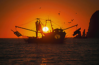 Early morning silhouette of a shrimp boat at Cabo San Lucas. Baja, Mexico.