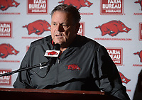 NWA Democrat-Gazette/ANDY SHUPE<br /> Arkansas coach Sam Pittman speaks Wednesday, Dec. 18, 2019, during a press conference to discuss the early signing period at the Fred W. Smith Football Center on the University of Arkansas in Fayetteville.