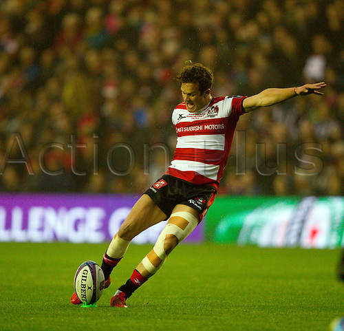 May 12th 2017, BT Murrayfield, Edinburgh, Scotland; European Rugby Challenge Cup Final; Gloucester versus Stade Francais; Billy Burns with the conversion