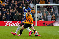 7th March 2020; Molineux Stadium, Wolverhampton, West Midlands, England; English Premier League, Wolverhampton Wanderers versus Brighton and Hove Albion; Daniel Podence of Wolverhampton Wanderers protects the ball from Yves Bissouma of Brighton & Hove Albion