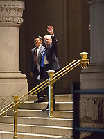 United States President Donal d J. Trump waves to well wishers after dining at Trump International Hotel in Washington, DC, July 29, 2017. Photo Credit: Chris Kleponis/CNP/AdMedia