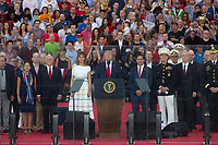 Melania Trump and United States President Donald J. Trump delivers remarks at his Salute to America event in Washington D.C. on July 4, 2019.  The event has been criticized as politicizing a traditionally non-political holiday.<br /> CAP/MPI/CNP<br /> ©CNP/MPI/Capital Pictures