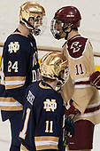 Luke Ripley (Notre Dame - 24), Chris Calnan (BC - 11) - The Boston College Eagles defeated the University of Notre Dame Fighting Irish 6-4 (EN) on Saturday, January 28, 2017, at Kelley Rink in Conte Forum in Chestnut Hill, Massachusetts.The Boston College Eagles defeated the University of Notre Dame Fighting Irish 6-4 (EN) on Saturday, January 28, 2017, at Kelley Rink in Conte Forum in Chestnut Hill, Massachusetts.