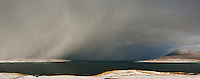 Winter snow flurry over Luskentyre, Isle of Harris, Outer Hebrides, Scotland