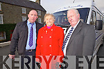 Bus drivers Paudie and Dave Kennelly from Newcastlewest with Elizabeth Cahill from Mountcollins, who recently had their bus service run by the HSE reinstated,  pictured here on Wednesday in Mountcollins village. The bus services communities from Mountcollins to Abbeyfeale.