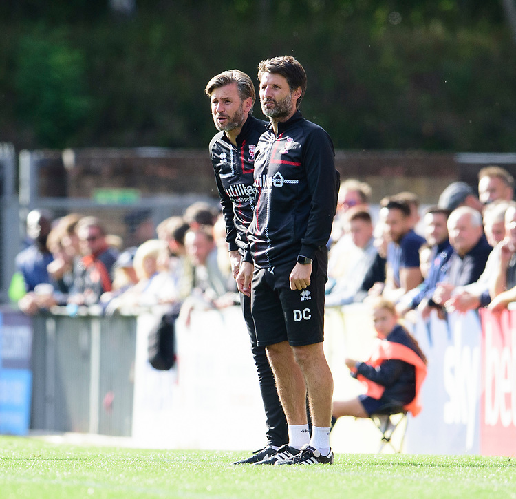 Lincoln City's assistant manager Nicky Cowley, left, Danny Cowley in the technical area<br /> <br /> Photographer Andrew Vaughan/CameraSport<br /> <br /> The EFL Sky Bet League One - Wycombe Wanderers v Lincoln City - Saturday 7th September 2019 - Adams Park - Wycombe<br /> <br /> World Copyright © 2019 CameraSport. All rights reserved. 43 Linden Ave. Countesthorpe. Leicester. England. LE8 5PG - Tel: +44 (0) 116 277 4147 - admin@camerasport.com - www.camerasport.com