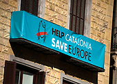 Sign on a building near the Palau de la Generalitat de Catalunya that advocates for Catalonian independence from Spain on Tuesday, November 7, 2017.  <br /> Credit: Ron Sachs / CNP