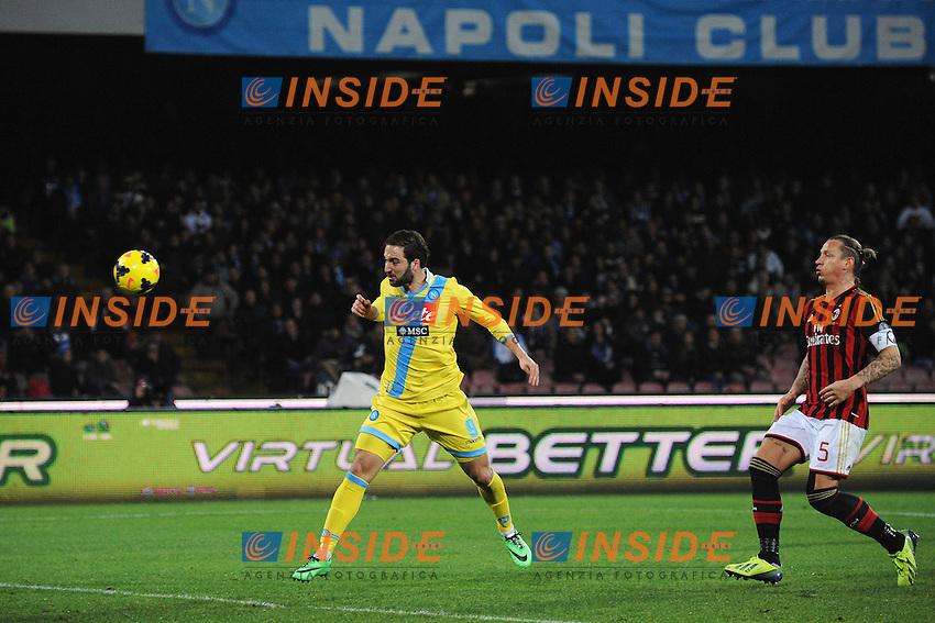Gol Gonzalo Higuain Napoli 2-1 Goal celebration <br /> Napoli 08-02-2014 Stadio San Paolo - Football Calcio Serie A 2013/2014 Napoli - Milan Foto Andrea Staccioli / Insidefoto