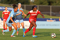 Piscataway, NJ - Sunday September 10, 2017: Dominique Richardson, Cheyna Williams during a regular season National Women's Soccer League (NWSL) match between Sky Blue FC and the Washington Spirit at Yurcak Field.