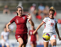 FRISCO, TX - MARCH 11: Jill Scott #8 of England and Angela Sosa #18 of Spain battle for control of the ball during a game between England and Spain at Toyota Stadium on March 11, 2020 in Frisco, Texas.