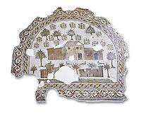 4th century AD Roman mosaic depiction of Roman Villa farms in Africa. The Bardo Museum, Tunis, Tunisia. White Background.