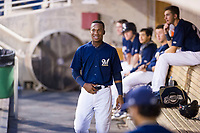 AZL Brewers shortstop Jean Carmona (5) gets the silent treatment after hitting his first Arizona League home run during a game against the AZL Padres 2 on September 2, 2017 at Maryvale Baseball Park in Phoenix, Arizona. AZL Brewers defeated the AZL Padres 2 2-0. (Zachary Lucy/Four Seam Images)