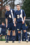 02 December 2007: West Virginia's Alex Erwin (4) and Dan Hagey (24). The Wake Forest University Demon Deacons defeated the West Virginia University Mountaineers 3-1 at W. Dennie Spry Soccer Stadium in Winston-Salem, North Carolina in a Third Round NCAA Division I Mens Soccer Tournament game.