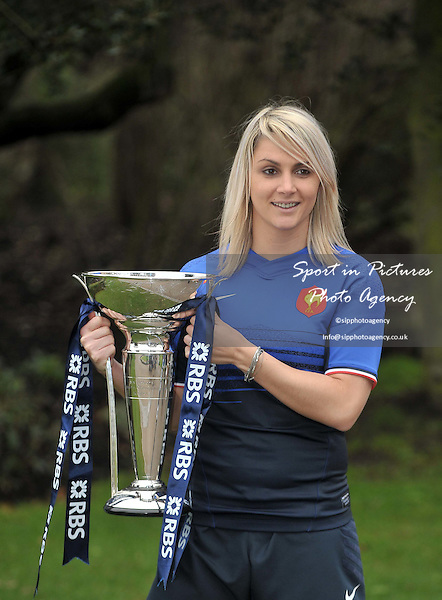 Nathalie Amiel of France poses with the trophy. RBS 6 Nations Rugby Launch. The Hurlingham Club. London. 25/01/2012. MANDATORY Credit Garry Bowden/Sportinpictures - NO UNAUTHORISED USE - 07837 394578