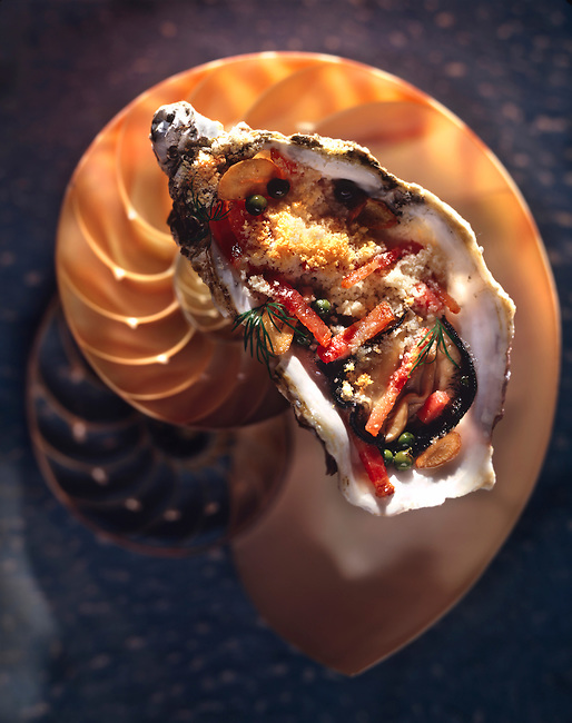 Top shot of breaded grilled oyster in its shell with a shell background