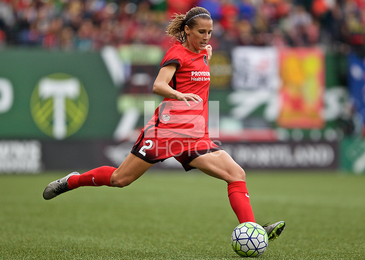 Portland, Oregon - Sunday October 2, 2016: Portland Thorns FC defender Katherine Reynolds (2) during a semi final match of the National Women's Soccer League (NWSL) at Providence Park.
