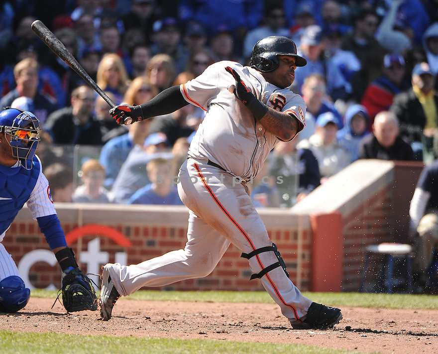 San Francisco Giants Pablo Sandolval (48) during a game against the Chicago Cubs on April 14, 2013 at Wrigley Field in Chicago, IL. The Giants beat the Cubs 10-7.