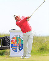 John Garvey (Seapoint) on the 1st tee during Round 1 of the Irish Amateur Close Championship at Seapoint Golf Club on Saturday 7th June 2014.<br /> Picture:  Thos Caffrey / www.golffile.ie